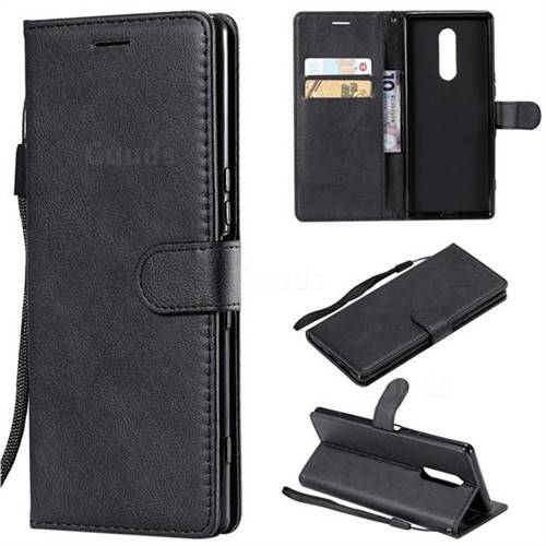 Retro Greek Classic Smooth PU Leather Wallet Phone Case for Sony Xperia 1 / Xperia XZ4 - Black
