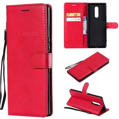 Retro Greek Classic Smooth PU Leather Wallet Phone Case for Sony Xperia 1 / Xperia XZ4 - Red
