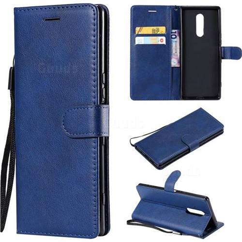 Retro Greek Classic Smooth PU Leather Wallet Phone Case for Sony Xperia XZ4 - Blue