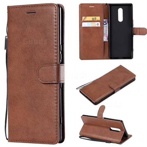 Retro Greek Classic Smooth PU Leather Wallet Phone Case for Sony Xperia XZ4 - Brown