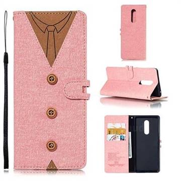Mens Button Clothing Style Leather Wallet Phone Case for Sony Xperia XZ4 - Pink