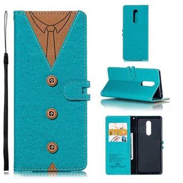 Mens Button Clothing Style Leather Wallet Phone Case for Sony Xperia XZ4 - Green