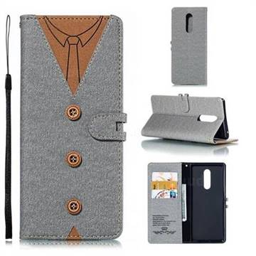 Mens Button Clothing Style Leather Wallet Phone Case for Sony Xperia 1 / Xperia XZ4 - Gray