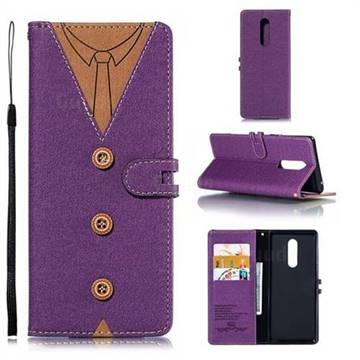 Mens Button Clothing Style Leather Wallet Phone Case for Sony Xperia 1 / Xperia XZ4 - Purple