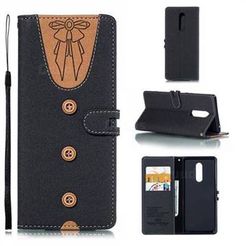 Ladies Bow Clothes Pattern Leather Wallet Phone Case for Sony Xperia XZ4 - Black