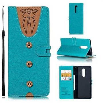 Ladies Bow Clothes Pattern Leather Wallet Phone Case for Sony Xperia XZ4 - Green