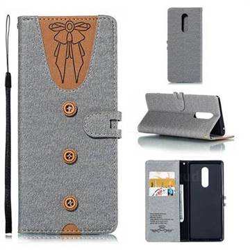 Ladies Bow Clothes Pattern Leather Wallet Phone Case for Sony Xperia XZ4 - Gray