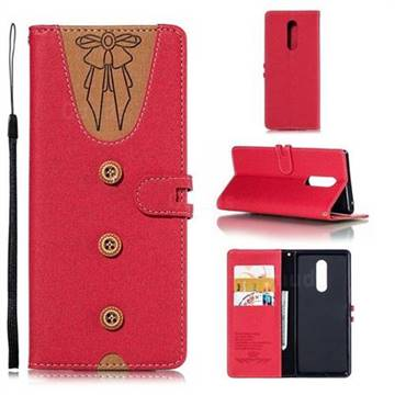 Ladies Bow Clothes Pattern Leather Wallet Phone Case for Sony Xperia XZ4 - Red