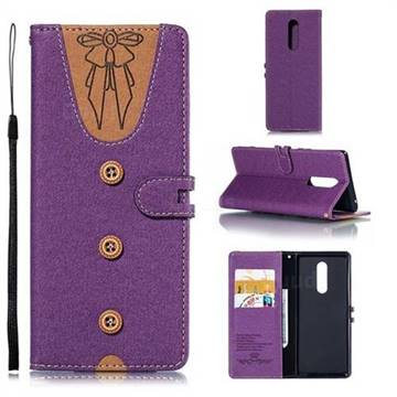 Ladies Bow Clothes Pattern Leather Wallet Phone Case for Sony Xperia 1 / Xperia XZ4 - Purple