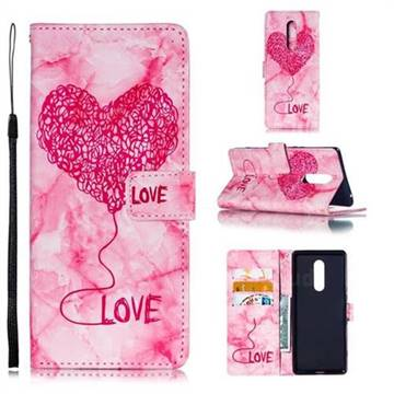 Marble Heart PU Leather Wallet Phone Case for Sony Xperia 1 / Xperia XZ4 - Red