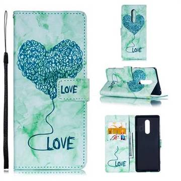 Marble Heart PU Leather Wallet Phone Case for Sony Xperia 1 / Xperia XZ4 - Green