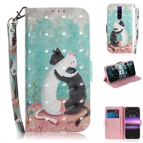 Black and White Cat 3D Painted Leather Wallet Phone Case for Sony Xperia 1 / Xperia XZ4