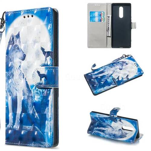 Ice Wolf 3D Painted Leather Wallet Phone Case for Sony Xperia 1 / Xperia XZ4