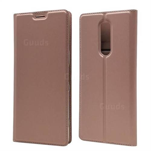 Ultra Slim Card Magnetic Automatic Suction Leather Wallet Case for Sony Xperia 1 / Xperia XZ4 - Rose Gold