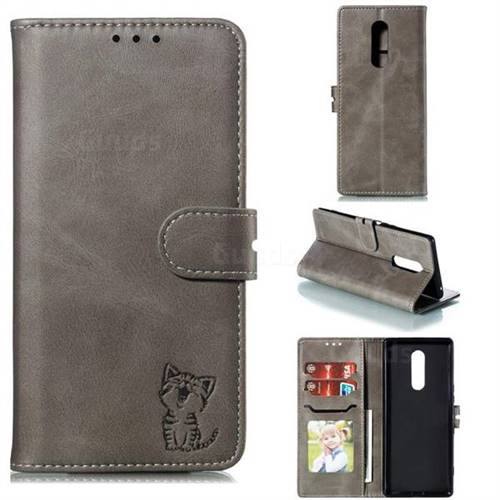 Embossing Happy Cat Leather Wallet Case for Sony Xperia 1 / Xperia XZ4 - Gray