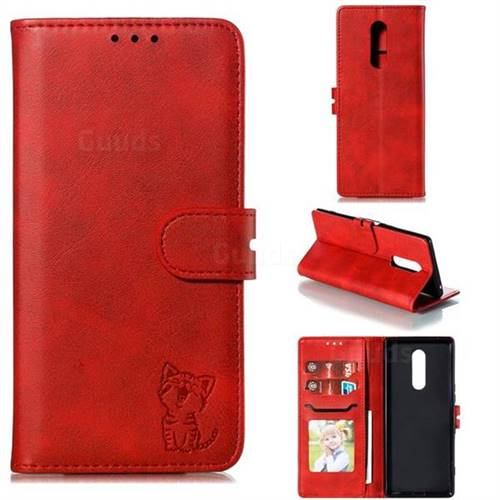 Embossing Happy Cat Leather Wallet Case for Sony Xperia 1 / Xperia XZ4 - Red