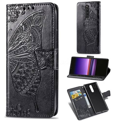 Embossing Mandala Flower Butterfly Leather Wallet Case for Sony Xperia 1 / Xperia XZ4 - Black