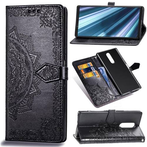 Embossing Imprint Mandala Flower Leather Wallet Case for Sony Xperia 1 / Xperia XZ4 - Black