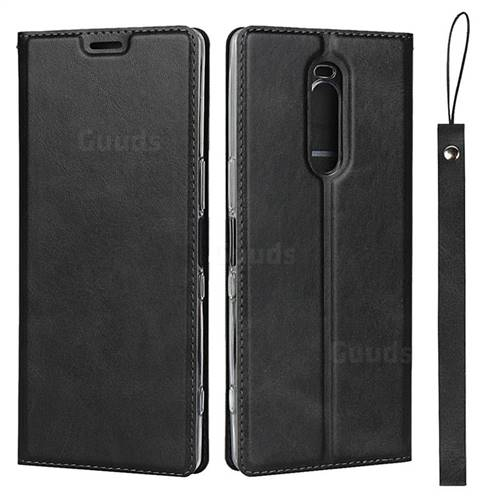 Calf Pattern Magnetic Automatic Suction Leather Wallet Case for Sony Xperia 1 / Xperia XZ4 - Black