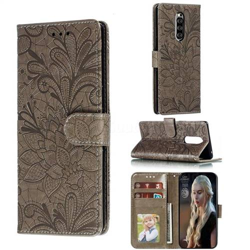 Intricate Embossing Lace Jasmine Flower Leather Wallet Case for Sony Xperia 1 / Xperia XZ4 - Gray