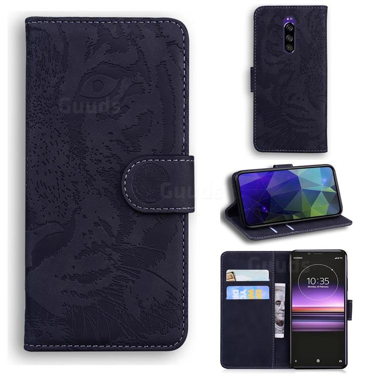 Intricate Embossing Tiger Face Leather Wallet Case for Sony Xperia 1 / Xperia XZ4 - Black