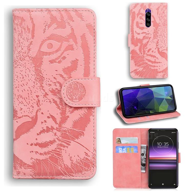 Intricate Embossing Tiger Face Leather Wallet Case for Sony Xperia 1 / Xperia XZ4 - Pink