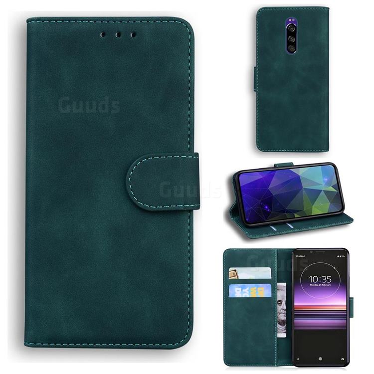 Retro Classic Skin Feel Leather Wallet Phone Case for Sony Xperia 1 / Xperia XZ4 - Green