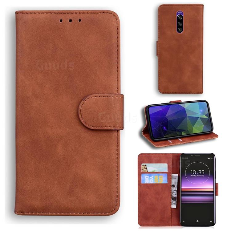 Retro Classic Skin Feel Leather Wallet Phone Case for Sony Xperia 1 / Xperia XZ4 - Brown