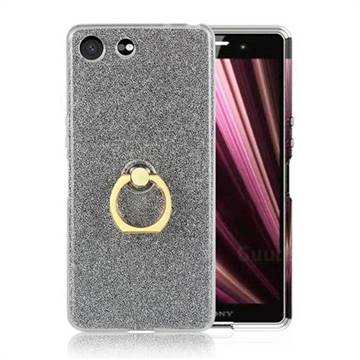 Luxury Soft TPU Glitter Back Ring Cover with 360 Rotate Finger Holder Buckle for Sony Xperia XZ4 Compact - Black