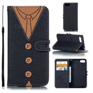 Mens Button Clothing Style Leather Wallet Phone Case for Sony Xperia XZ4 Compact - Black