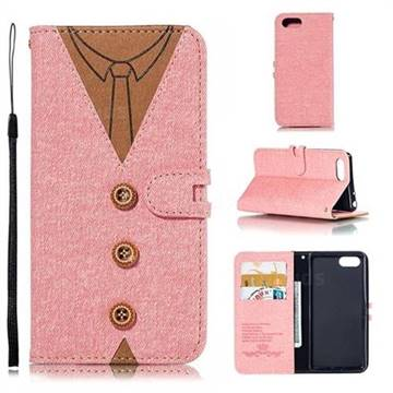 Mens Button Clothing Style Leather Wallet Phone Case for Sony Xperia 1 / Xperia XZ4 Compact - Pink