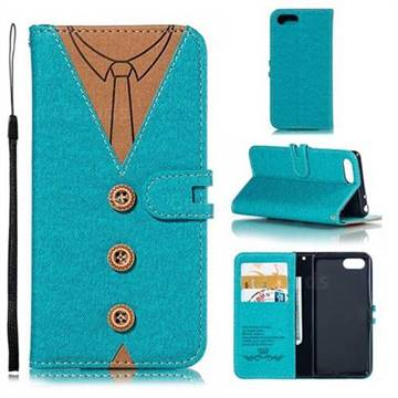 Mens Button Clothing Style Leather Wallet Phone Case for Sony Xperia XZ4 Compact - Green