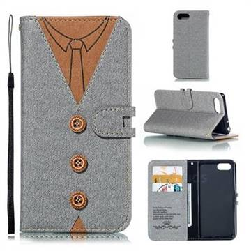 Mens Button Clothing Style Leather Wallet Phone Case for Sony Xperia 1 / Xperia XZ4 Compact - Gray