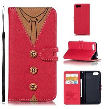 Mens Button Clothing Style Leather Wallet Phone Case for Sony Xperia 1 / Xperia XZ4 Compact - Red