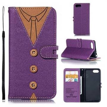 Mens Button Clothing Style Leather Wallet Phone Case for Sony Xperia XZ4 Compact - Purple