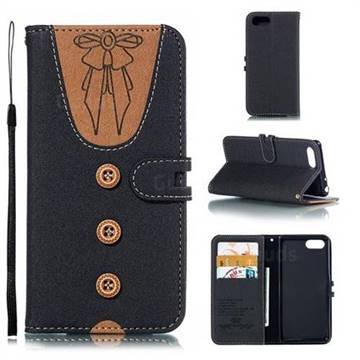 Ladies Bow Clothes Pattern Leather Wallet Phone Case for Sony Xperia 1 / Xperia XZ4 Compact - Black