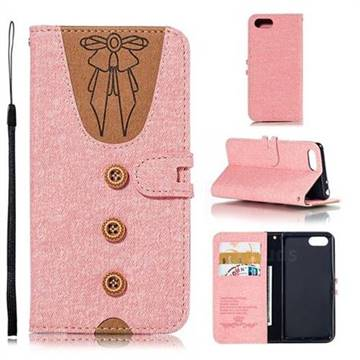 Ladies Bow Clothes Pattern Leather Wallet Phone Case for Sony Xperia XZ4 Compact - Pink