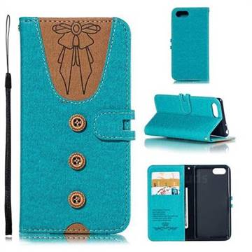 Ladies Bow Clothes Pattern Leather Wallet Phone Case for Sony Xperia 1 / Xperia XZ4 Compact - Green