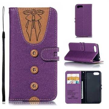 Ladies Bow Clothes Pattern Leather Wallet Phone Case for Sony Xperia 1 / Xperia XZ4 Compact - Purple