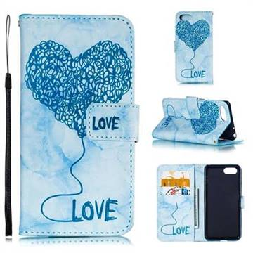 Marble Heart PU Leather Wallet Phone Case for Sony Xperia 1 / Xperia XZ4 Compact - Blue