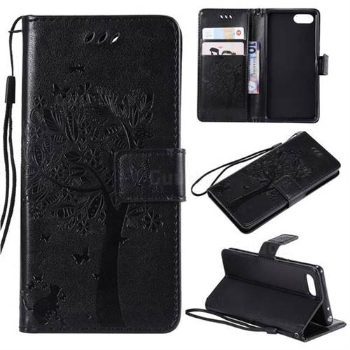 Embossing Butterfly Tree Leather Wallet Case for Sony Xperia XZ4 Compact - Black