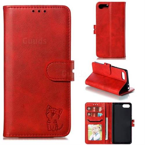 Embossing Happy Cat Leather Wallet Case for Sony Xperia XZ4 Compact - Red