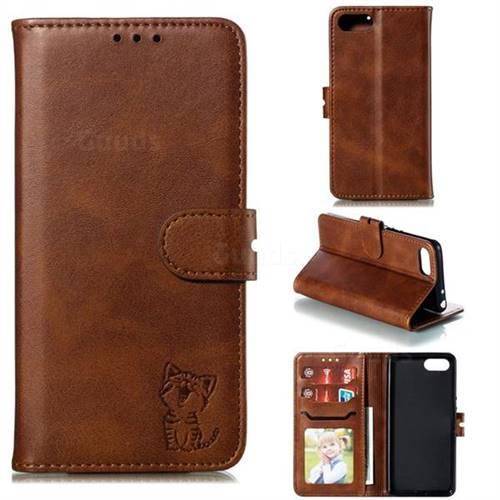 Embossing Happy Cat Leather Wallet Case for Sony Xperia XZ4 Compact - Brown