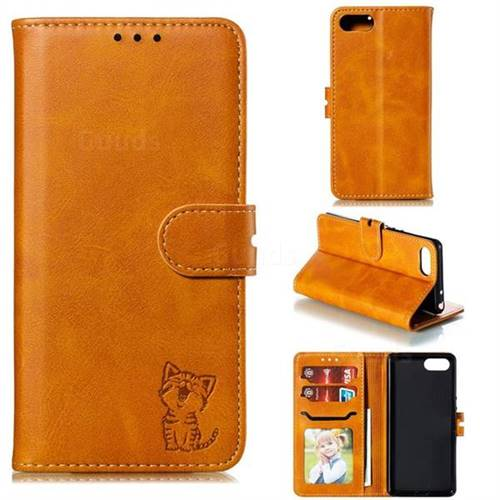 Embossing Happy Cat Leather Wallet Case for Sony Xperia XZ4 Compact - Yellow