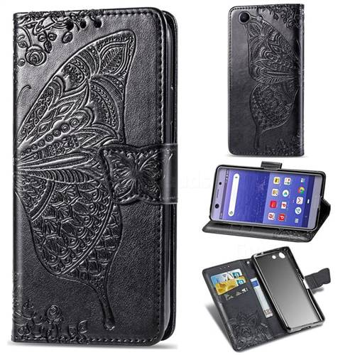 Embossing Mandala Flower Butterfly Leather Wallet Case for Sony Xperia XZ4 Compact - Black