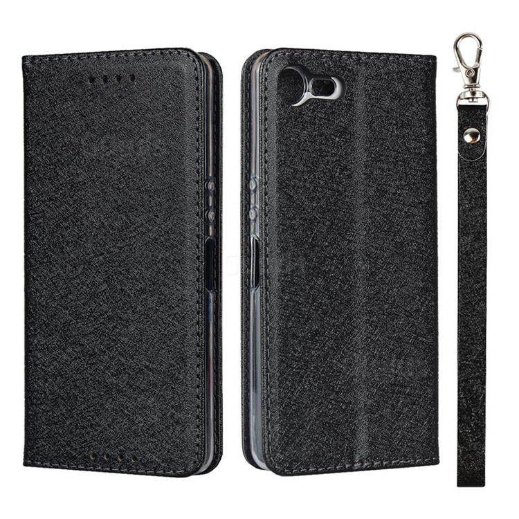 Ultra Slim Magnetic Automatic Suction Silk Lanyard Leather Flip Cover for Sony Xperia XZ4 Compact - Black