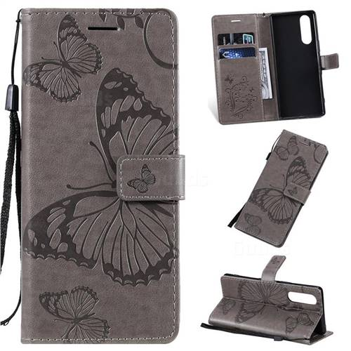 Embossing 3D Butterfly Leather Wallet Case for Sony Xperia 5 / Xperia XZ5 - Gray