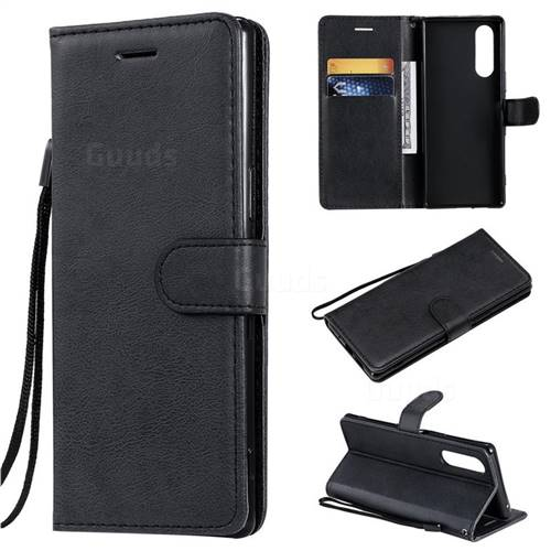 Retro Greek Classic Smooth PU Leather Wallet Phone Case for Sony Xperia 5 / Xperia XZ5 - Black