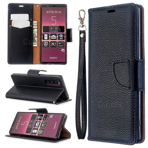 Classic Luxury Litchi Leather Phone Wallet Case for Sony Xperia 5 / Xperia XZ5 - Black