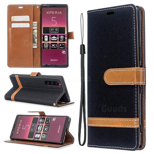 Jeans Cowboy Denim Leather Wallet Case for Sony Xperia 5 / Xperia XZ5 - Black